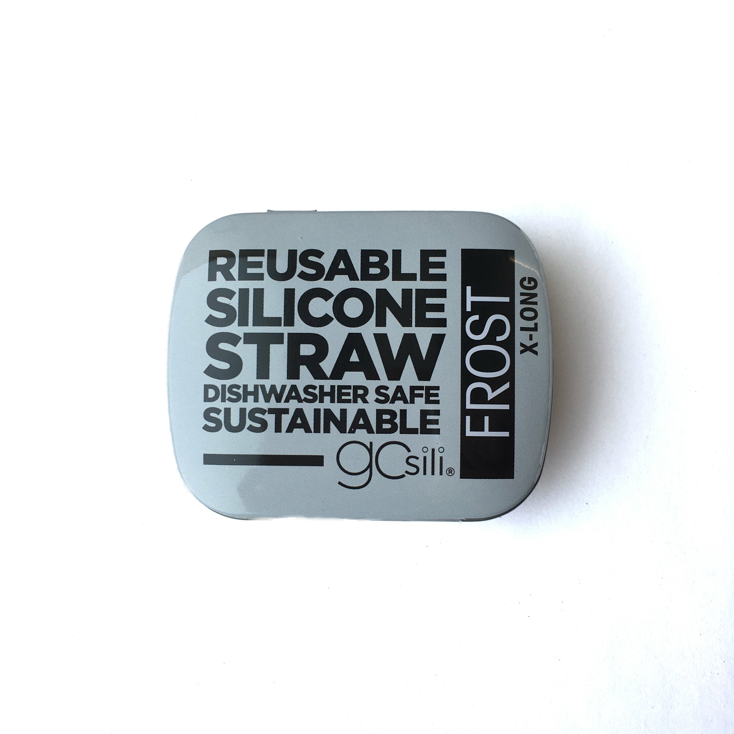 Reusable Silicone Straw X-Long Travel Case Frost