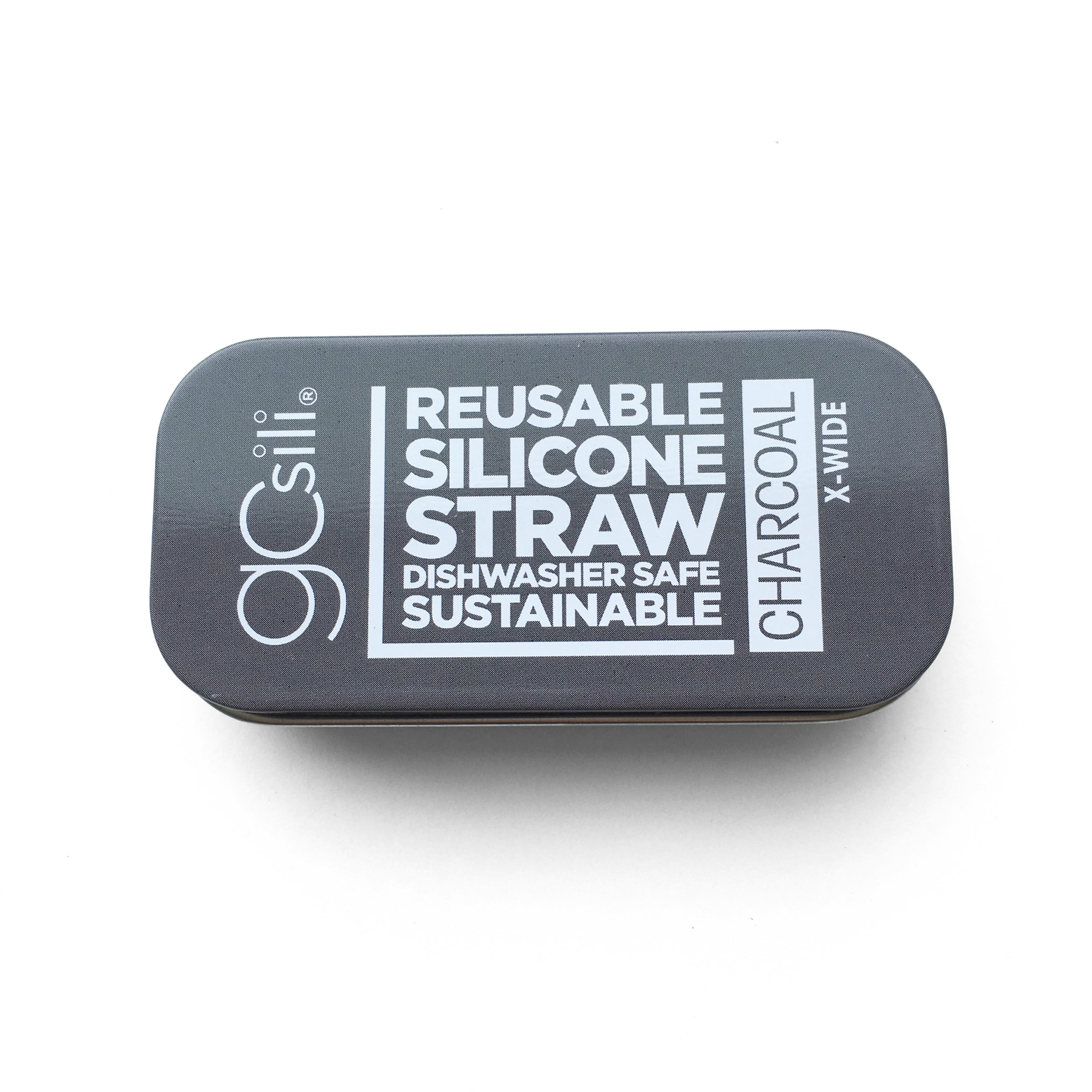 Reusable Silicone Straw X-Wide Travel Case Charcoal