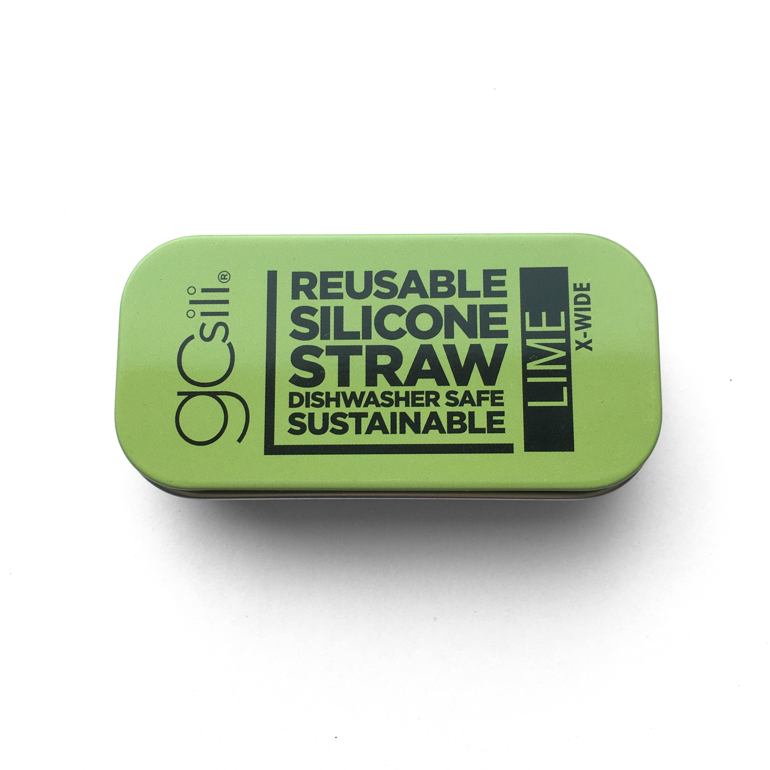 Reusable Silicone Straw X-Wide Travel Case Lime